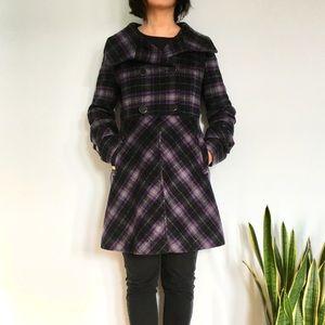 Soia & Kyo Purple Plaid Wool Funnel Neck Coat